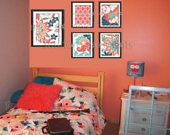 Coral Seafoam Teal Floral Modern inspired  Art Prints Collection (4) 8x10 (1) 11x14 Prints (UNFRAMED) #459791652