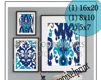 Ikat Collage Turquoise Navy Greys Art Wall Gallery Digital Print  -Set of (3) -  Prints -  16x20, 8x10, 5x7, (UNFRAMED)
