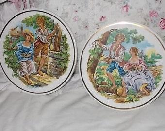 Pair Of Boucher Art Ceramic Tile Trivets :)S