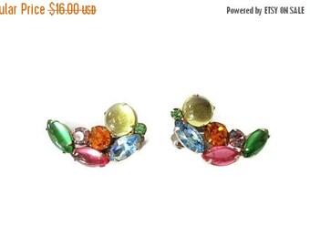 ON SALE Vintage Rhinestone Muti Color Earrings, Fruit Salad Clip Ons, Bold Bright Glittering Holiday Earrings