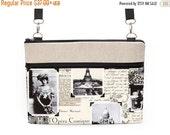 "SALE 20% MacBook Strap Bag, 13"" Laptop Crossbody, 11"" Notebook Strap Bag, 11"" Laptop Zipper Case - vintage Paris collage"