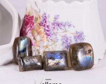 Natural flashy labradorite cabochon, lot of 4, rectangle, medium size, blue golden flashy cab stones, untreated, undrilled natural stones