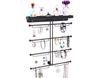 Large Wall Mount Bracelet & Earring Holder Storage Rack Display - Angelynn's Carol Jewelry Organizer (Black)