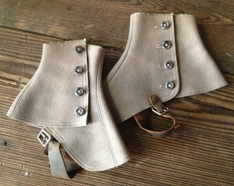Victorian Wool Boot Spats Leather Strap Button Down Ladies