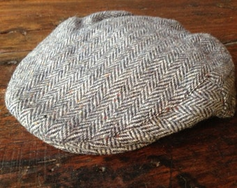 Wool Tweed Newsboy Hat, Made in Ireland Flat Cap, Gray Black Herringbone Pattern