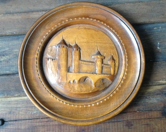 French Decorative Wood Plate, Hand Carved Handcrafted, Carcassonne Region of Languedoc Roussillon France