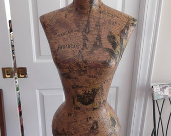 Paris style mannequin, Artsy Decoupaged  Body Form, vintage style, with stand
