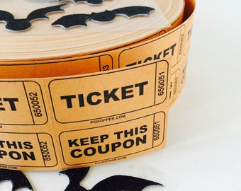 Orange Black Tickets / 100 Vintage Carnival Raffle Double Tickets Coupons  Orange & Black