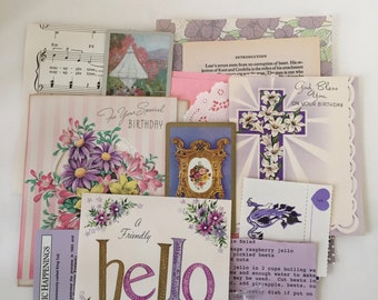 Summer Scrap Pack / 40pc. Purple Ephemera Paper Pieces DIY Kit for Mixed Media Inspiration Kit, Collage, Altered Art
