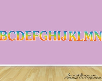 Rainbow Letter Wall Decals, Kid Wall Decals,Removable and Repositionable Fabric Wall Decals
