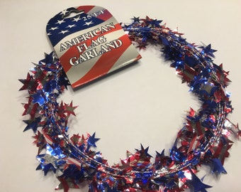 25 feet of shinny red white blue American Flag garland, (BR61)