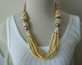 Vintage Bone Necklace.  24 Inches.  Unusual