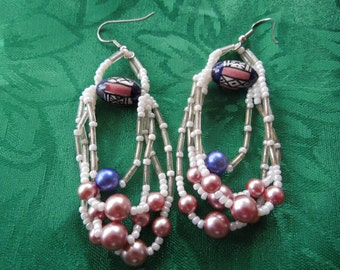 Vintage Dangle Earrings.  Hook Type, Beads and Faux Pearls, Long Dangle, Unusual