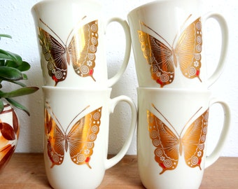 70's Gold Butterfly Mugs Set of 4