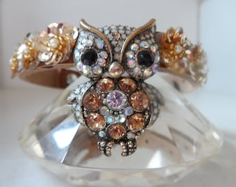 Couture dog collar. The Wise Old Owl.Hand crafted multi color diamante owl pendant center. with gold sequin flower surround. OOAK