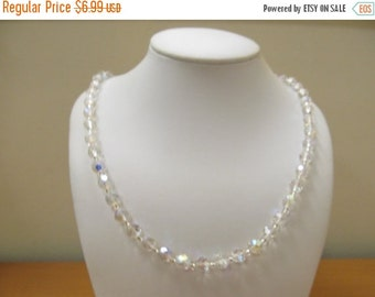 ON SALE Vintage Aurora Borealis Glass Beaded Necklace Item K # 1215