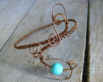 Wire Wrapped Bracelet Turquoise bead, Copper Bracelet, Wire wrapped jewelry, Wire Wrapped Bangle, Copper Cuff Bracelet, Copper arm cuff