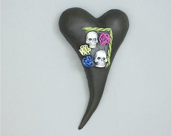 "Heart, ceramic wall art, Jacquline Hurlbert, one of a kind, unique, title: ""Til Death Do Us  Part"""