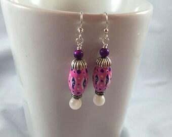Bright pink earrings, handpainted beads, pink and purple, small painting, micro painting, dangle earrings, earrings under 25