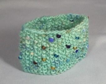 Robin's Egg: knit cuff, beaded cuff, blue and gold, teal, yarn jewelry, knit jewelry, knit accessories, knit fashion