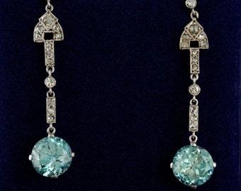 Exquisite Art Deco 9.00 Ct natural  blue zircon and diamon platinum drop earrings