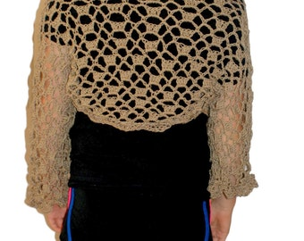 Crochet Shrug, Taupe Shrug, Woman Bolero, Brown Shrug, Cotton Shrug, Womens Shrug Jacket, Lacey Shrug, Sweater, Elegant Shrug, Cotton Bolero
