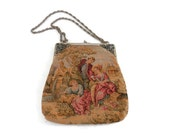 Antique Tapestry Purse By JR of Miami Florida  Romantic Garden Scene with Cherubs and Lambs