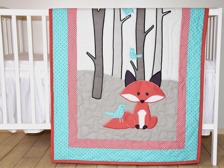 Fox Blanket Baby Boy Or Girl Crib Bedding Personalized