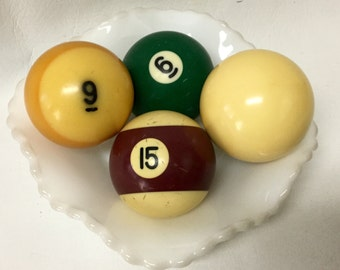 Vintage Pool Ball Set of 4 Random Striped Solid Price includes all 4 Phenolic Resin