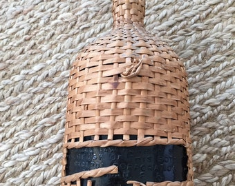 Vintage Wicker Covered Demi John- Wicker Covered Bottle