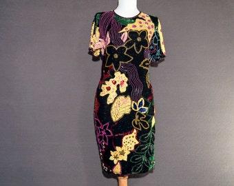 Vintage AJ Bari beaded party dress - elegant jewel tones - size 4