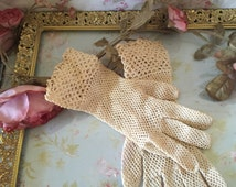 Vintage crocheted gloves/antique - hand crocheted - gorgeous - stretches to fit all sizes WEDDING GLOVES