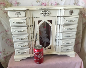 Large Jewelry Box - Painted white jewelry box - Pink Lining - GIft for her - Glass door - 10 drawers - Shabby Chic Jewelry Box - HUGE