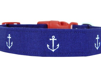Navy Anchor Dog Collar; Red White and Blue Nautical Dog Collar: Anchors Away