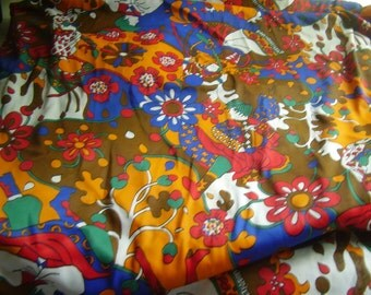 CLEARANCE Vintage 1970's Bright Color Dancers Fabric, 3 yard plus