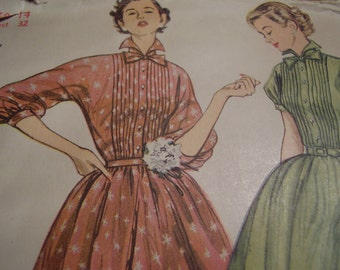 Vintage 1950's Simplicity 8483 Dress Sewing Pattern, Size 14, Bust 32