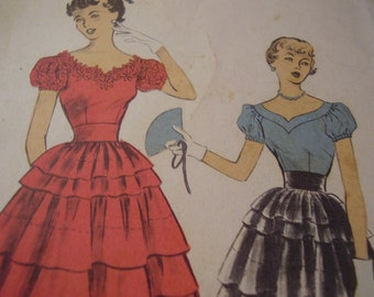 Vintage 1950's Advance 5587 Blouse and Skirt Sewing Pattern, Size 17, Bust 35