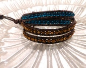 Four Wrap Color Block Gold Faceted Beads and Peacock Blue Glass Dark Brown Leather Bracelet