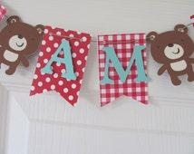 High Chair Banner, I am One, Teddy Bear Banner, Teddy Bear Birthday, Picnic Party