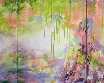 Green Dream Wisteria Abstraction- Modern Art