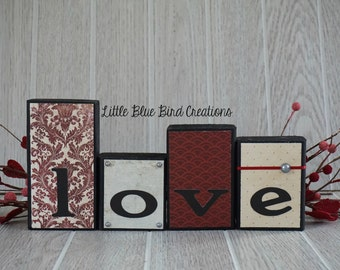 LOVE Wooden Blocks-Home Decor - valentines day - wood sign - primitive love - wood letters - love letters