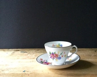 Vintage Crownford China, Vintage Teacups, Shabby Floral China, Mismatched China, Fine China, Staffordshire England, Cups and Saucers, Chintz