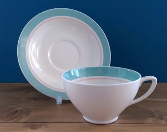 Susie Cooper Kestrel Shape Cup and Saucer in the Sage Band Design