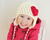 Toddler Girl Heart Earflap Hat, Baby Girl Valentine's Day Hat, Cream and Red Heart Hat