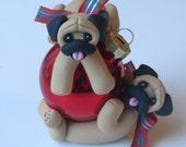 Pug Dogs Playing Christmas Ornament Polymer Clay