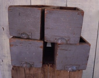 Vintage Industrial Primitive Rustic Long Drawers x 4