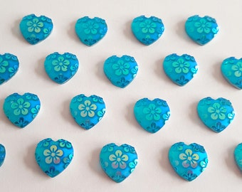 5 - 12mm Heart Turquoise AB Tropical Flower Cabochon Embellishments