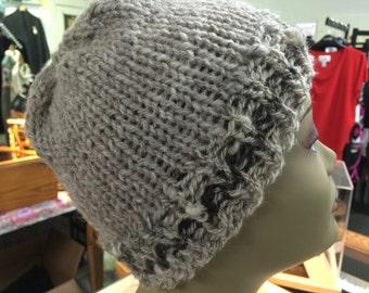 Hand Spun Hand Knit Wool Hat