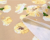 Flowers Knit Fabric, Cotton French Terry Knit, Stretchy Fabric - Beige - By the Yard 74075
