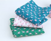 Flamingo Cotton Fabric, Animal Cotton Fabric - Pink, Green or Blue - Digital Printing - By the Yard 87599